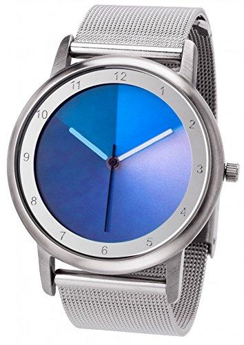 Rainbow e-motion of color - Orologio da polso modello Avantgardia blues, cinturino in acciaio inox con chiusura a clip, design Milanese
