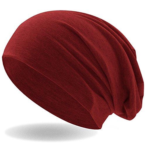 Hatstar Klassische Jersey Slouch Long Beanie Mütze, leicht und weich, für Damen und Herren (Dunkel Rot)