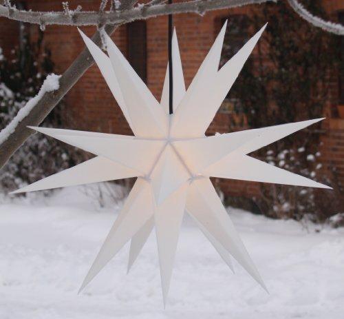 Guru-Shop Melchior Outdoor II Weiß, Sehr Stabiler 3D Außenstern Ø 60 cm, mit 20 Spitzen, Inkl. 4 m Außenkabel - Melchior Weiß, Plastik, Weihnachtsstern, Adventsstern