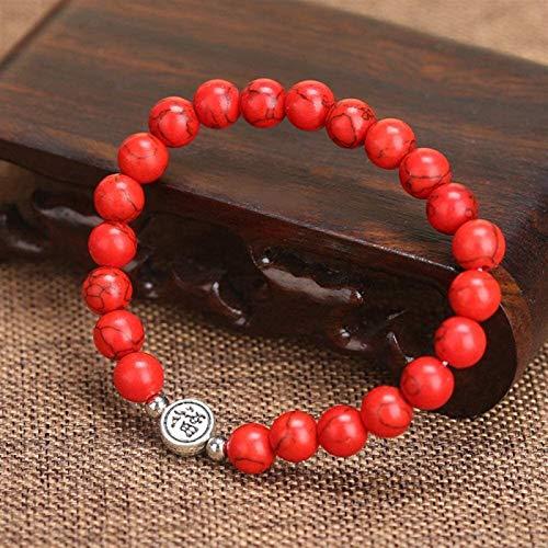 XIAOGING Pulsera de piedra, mujeres, 7 chakra perlas de piedra natural de color rojo turquesa elástico chino & quot; fu & quot;Joyas de yoga Energía Reiki reza el regalo difusor del encanto para parej