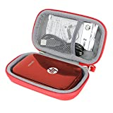 Étui de Voyage Rigide Housse Cas pour HP Sprocket Imprimante Photo Portable par co2CREA (Noir) (Rouge)