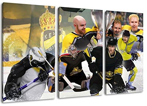 Krefeld Eishockey, Fan Artikel Leinwandbild 3Teiler Gesamtmaß 120x80cm, Auf Holzrahmen gespannt, Kein Poster oder billig Plakat, Must Have für echte Fans