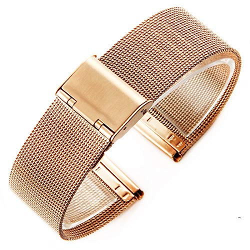 Watch Strap 4 Colors Rose Gold Black Stainless Steel Men Bracelet Strap Wrist Watch Replacement Band 12-18 20 22 22mm 1 (Band Color : Rose Gold)