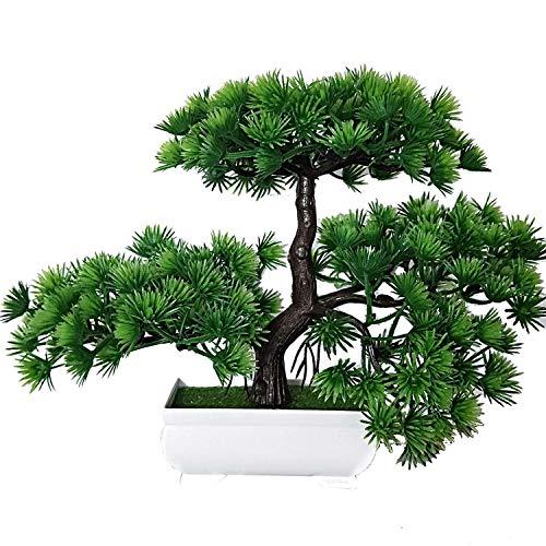 künstliche Bonsai Künstliche Bonsai-Baum Pflanzen Dekoration Decoración de pinos japoneses con Cuenco, Cedro bonsái, decoración de Bodas en casa, árbol de Arte, Altura Aprox. 20 cm, Verde, 35