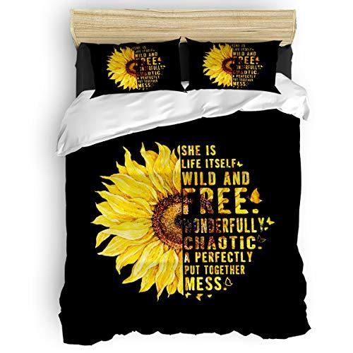 Sunflower Motivation Words for Kids Girls with Zipper Closure Ultra Soft Easy Care Bedding Set Full (4pc Set, 1 Comforter Cover + 2 Pillow Shams + 1 Flat Sheet) Blooming Flower Plants Nature Black