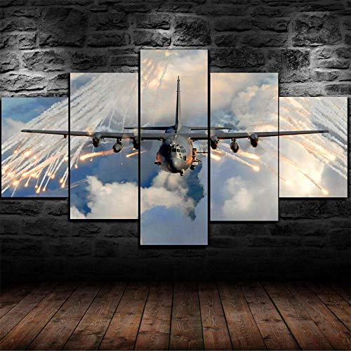 WJWORLD 5-delig schilderij op canvas, moderne afbeeldingen voor woonkamer, slaapkamer, modern schilderijen, modulaire druk, muurkunst, vliegtuig, Hercules Sid C-130 30x40cmx2,30x60cmx2,30x80cmx1 Frame