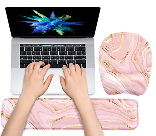 Keyboard Wrist Rest Mouse Pad Wrist Support for Computer Desktop/Laptop/Notebook Memory Foam Keyboard Pad Ergonomic Hand Rest Wrist Cushion for Home Office Gaming - Pink Fluid