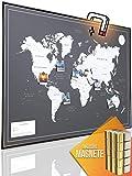 VACENTURES Magnetische Pinnwand Weltkarte XXL'DARK' inkl. 2 x 15 magnetische Pins I Markiere Deine...