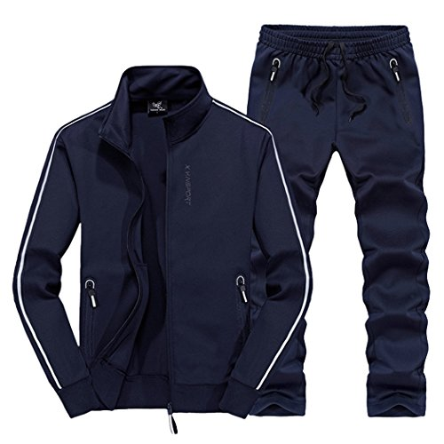Real Spark Women's Jogging Tracksuit Casual Full Zip Running Sports Sweat Suit Set Navyblue S