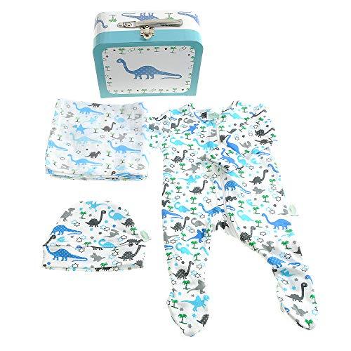 Nieuwe Baby Gift Koffer met Rits Suit, Hoed en Muslin, Uptown Dinosaur Ontwerp