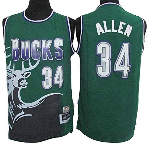 WSWZ Basketball Trikots - Milwaukee Bucks 34# Ray Allen Herren-Trikot - Unisex Bequemes Basketball Sportwesten Top T-Shirt,S(165~170CM/50~65KG)