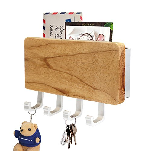 Segarty Key Holder, Wooden Decorative Key Rack for Wall Organizer, Entryway Keychain Hangers and Mail Holder with 4 Key Ring Hooks for Home Decor, Hallway Door Kitchen Keyholders