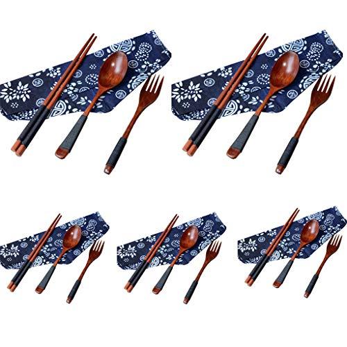 Bearbelly Set de Cubiertos Japonés Vintage Palillos de Madera Cuchara Tenedor vajilla 3pcs Set Nuevo Regalo, Biodegradable vajilla de Madera de Color Natural (5PC)