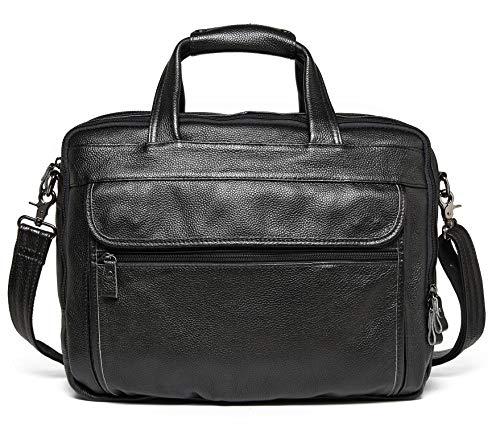 BOSS Aron Genuine Leather Briefcase for Men 15 inch Laptop Case Vintage Business Messenger Shoulder Bags B12 (Black)