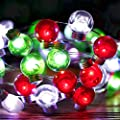 Christmas Lights Decor Red Green White String Lights 10 Feet Silver Wire 40 LED USB and Battery Powered with Dimmable Remote Timer for Indoor Outdoor, Bedroom, Christmas Tree Decorations (Round Bulb)