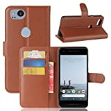 Excelsior Premium Leather Wallet Flip Cover Case for Google Pixel 2 (Brown)