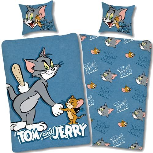 Tom und Jerry Bettwäsche 135x200 80x80 Kissen-Bezug [Wendemotiv] Kinder-Bettwäsche Set blau Tom&Jerry 100% Baumwolle Öko-Tex Standard 100 Deutsche Größe