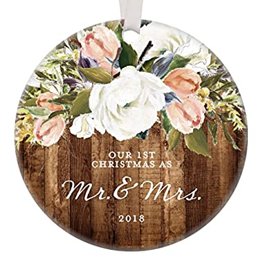 Rustic Newlyweds Christmas Ornament, 2018 First Christmas as Mr & Mrs Gift for Couple Wedding Day Beautiful Modern Farmhouse Floral Present 3  Flat Circle Porcelain with White Ribbon & Free Gift Box