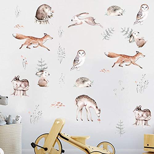 Forest Cartoon Animal Wall Stickers Rabbit Fox Deer Sica Owl Wallpaper For Kids Room Kid Living Room Creative Wall Mural Wall
