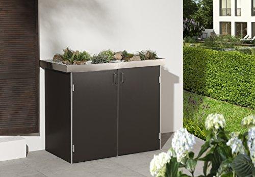 BINTO Mülltonnenbox HPL schiefer System 2P - für zwei Mülltonnen inkl. Pflanzschalen