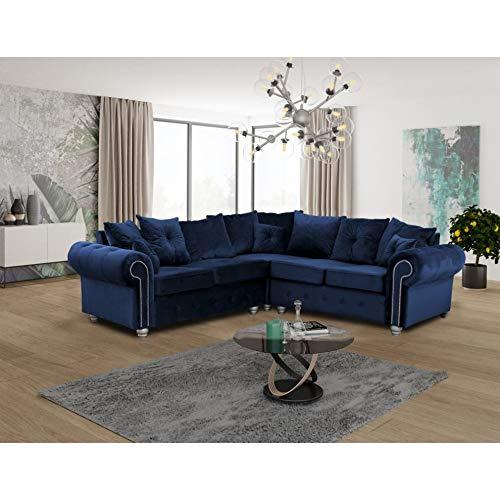 HHI - Corner sofas & couches - Luxurious Large BLUE PLUSH Fabric CORNER Sofa- Scatter back Cushions - Modern L Shaped Corner Sofa 230 X 230 cm (BLUE PLUSH Fabric Corner Sofa)