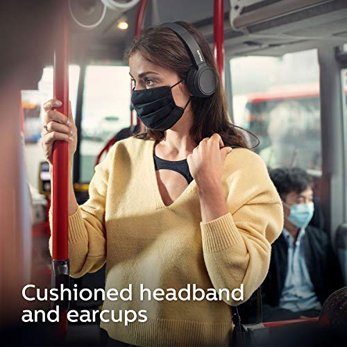Philips On Ear Kopfhörer H4205BK/00 mit Bass Boost-Taste (Bluetooth, 29 Stunden Wiedergabezeit, Schnellladefunktion, Geräuschisolierung, Zusammenklappbar), Schwarz Matt - 2020/2021 Modell