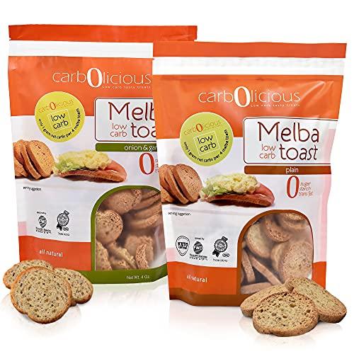 Low Carb Melba Toast [2-Pack] By Carb-o-licious , Sugar Free Keto Snack- 1 Net Carb Per Serving- Kosher Friendly Crunchy Healthy Bites- Variety 2-Pack [1 Plain, 1 Onion & Garlic] 4oz Each