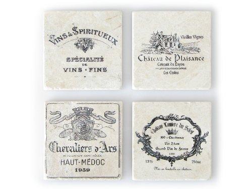 4 Stück Shabby Vintage Glasuntersetzer FRANZÖSISCHE WEINE A Untersetzer aus Marmor Chateau Antikmarmor