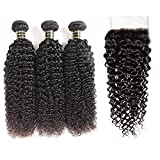 Aodai Hair Brazilian Virgin Curly Hair Weave 3 Bundles with Lace Closure Free Part 4x4 8A 100% Unprocessed Brazilian Kinky Curly Hair Weave Bundles Natural Color (12 14 16+10)