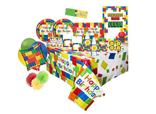 uni-que Kit N 70 Coordinato Compleanno Block Party New - Building Blocks Party addobbi