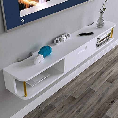 Estante Flotante Mueble de TV montado en la Pared Decodificador decodificador Router Sky Box Estante para Reproductor de DVD Consola de TV Soporte de TV Soporte de exhibición (Color: Blanco)