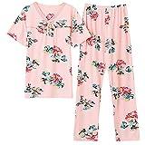 STJDM Bata de Noche,Summer Floral Print Pajams Set Women Plus Size Cotton Nightwear Short Sleeve Pyjamas O-Neck Sleepwear Female Pijamas XXL TM9207