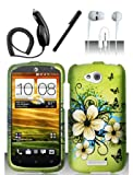 Shoparound168 HTC One VX (at&T) Case, Green Hawaiian Flowers Design Protective Snap-On Hard Cover for HTC One VX