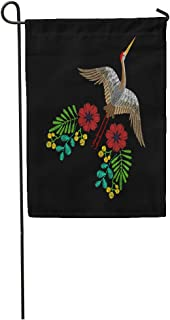 Semtomn Garden Flag Red Asian Crane Spring Wildflowers for Embroidered on Traditional Folk Home Yard House Decor Barnner Outdoor Stand 12x18 Inches Flag