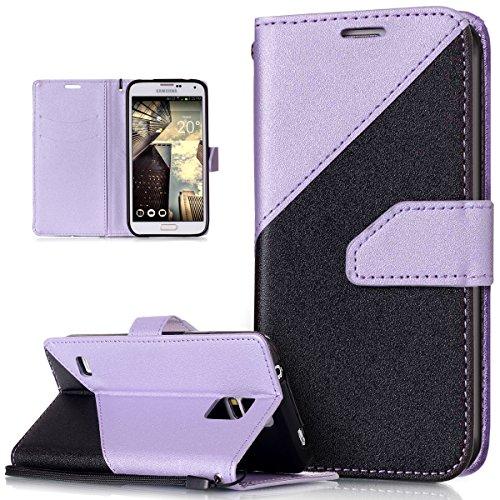 Coque Galaxy S5,Coque Galaxy S5 Neo,Récurer sentir Couleur mixte Housse Cuir PU Housse Etui Coque Portefeuille Protection supporter Flip Case Etui Housse Coque pour Galaxy S5/S5 Neo,Noir +violet clair