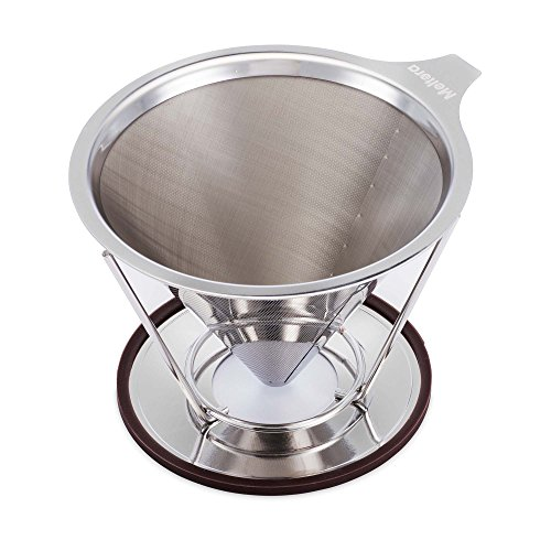 Single Cup Coffee Maker by Meltera, Pour Over Coffee Filter for Best Brew, Stainless Steel & Reusable Cone Dripper with Removable Stand, 100% Paperless & Eco-Friendly, Works With Carafe