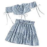 ZAFUL Vestido de dos piezas para mujer con estampado Ditsy de hombros descubiertos, con volantes, parte superior y minifalda azul XL
