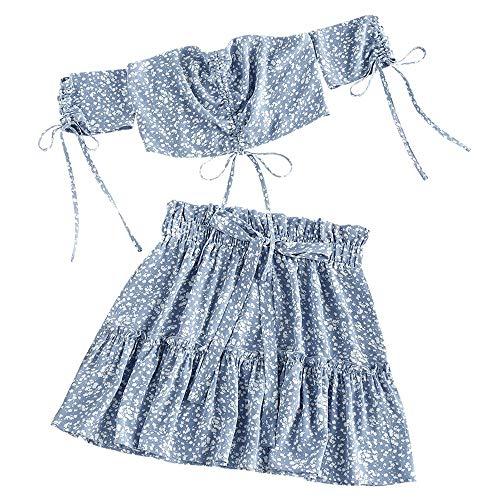 ZAFUL Damen Ditsy Print Zweiteiler Schulterfrei Kleid Cinched Smocked Off Schulter Rüschenrock Set Crop Top und Minirock(Blau,M