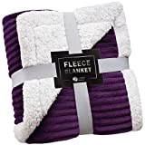 Sherpa Blanket Fleece Throw – 50x60, Purple – Soft, Plush, Fluffy, Warm, Cozy – Perfect for Bed, Sofa, Couch, Chair
