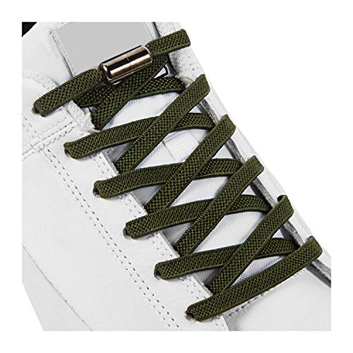 No Tie Elastic Shoe Laces, Shoelaces for Kids, Adults and Elderly - Elastic Athletic Running Shoe Laces(2 Pairs) Army green