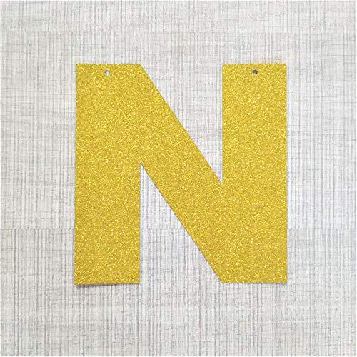 Home Wang Guirnalda Banderines Alfabeto Personalizado Oro Brillo Carta Papel Bandera DIY Nombre Colgante Banderas del Partido Guirnalda Decoración Cumpleaños Vivero-N_7_Inches