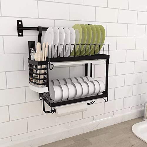 anruo Aan de muur gemonteerd keukenrek roestvrijstalen afdruiprek afvoerbak bestek bekerhouder afdruiprek