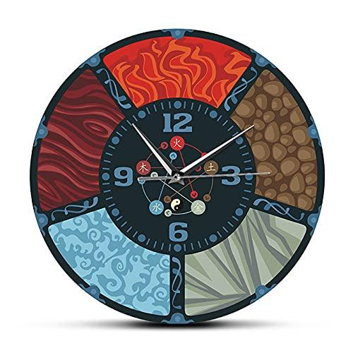 Hnfoxm Orologio da Parete a Cinque Elementi con circolazione Cinese Cinque Elementi Feng Shui...