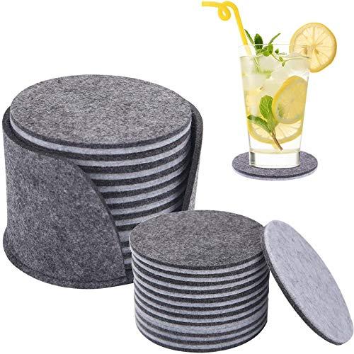 DOTTAVR Posavasos de fieltro con caja de almacenamiento, posavasos de fieltro redondo, posavasos de fieltro para vasos, tazas calientes, ollas, tazas de té (20 unidades)
