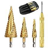 ステップドリル 六角軸 4本セット hss钢 ドリル 螺旋 六角轴スパイラル チタンコーティング スパイラル ステップドリル 4pcs 4-12mm 9段 4-20mm 9段 4-32mm 15段. (4本セット)