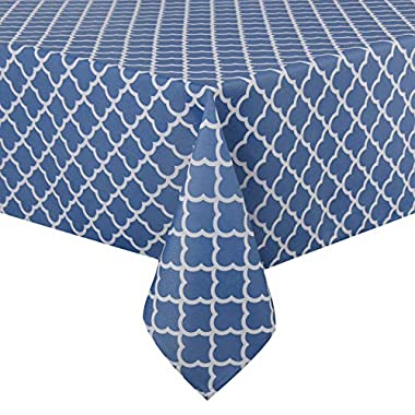 ColorBird Elegant Trellis Tablecloth Waterproof Spillproof Polyester Fabric Table Cover for Kitchen Dinning Tabletop Decoration (Rectangle/Oblong, 52 x 70 Inch, Stone Blue)