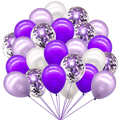 72pcs Purple White Balloons Set - Mixed Purple Confetti White Balloons Garland Arch Kit for Wedding Birthday Graduation Party Decorations