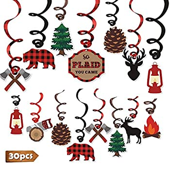 Levfla 30CT Lumberjack Party Hanging Swirls Decoration Buffalo Plaid Kids Birthday Photo Props Camping Ideas Bears Cutouts S More Fun Door Whirls Signs Baby Shower Favor Supplies