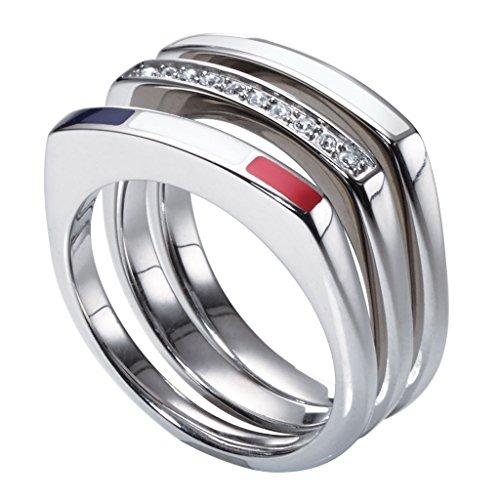 Tommy Hilfiger 2700580B Damen Ring Edelstahl Silber Weiß Zirkonia 16,6 mm Größe 52