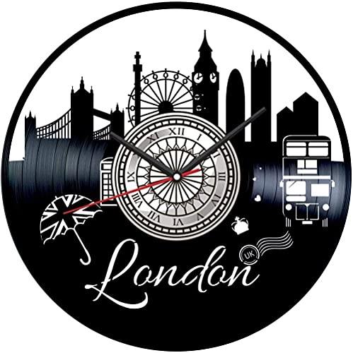 London - Reloj de pared con disco de vinilo para decoración del hogar, hecho a mano, regalo para hombres, mujeres, amigos y niños